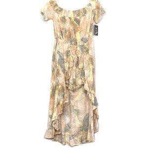 Art Class Orange Floral Off Shoulder Romper Dress